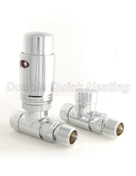 DQ Heating Essential TRV Straight Thermostatic Radiator Valves Chrome