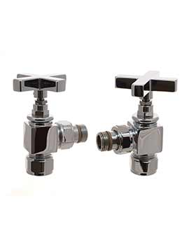 DQ Heating Q Cross Head Angled Luxury Manual Radiator Valves Chrome