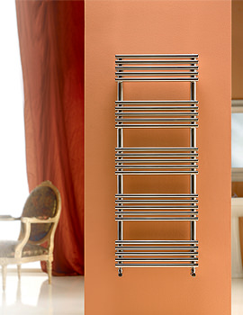 DQ Heating Sandy Polished Stainless Steel Heated Towel Rail 400 x 1295mm