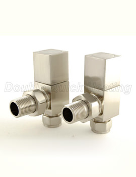 DQ Heating Essential Square Angled Manual Radiator Valves Brushed Nickle