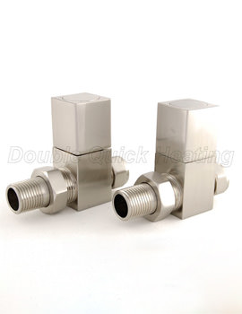 DQ Heating Essential Square Straight Manual Radiator Valves Brushed Nickle