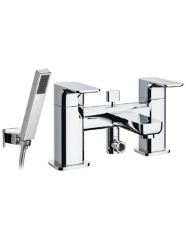 Pura Flite Deck Mounted Bath/Shower Mixer Tap With Handset And Hose