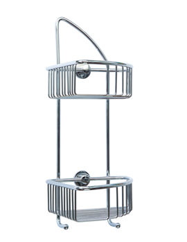 Red Dot Coorb Chrome Plated Double Tier Corner Shower Caddy
