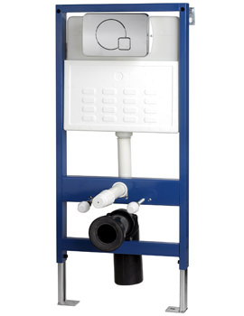 Pura Wall Hung WC Pan Frame System With Chrome Dual Flush Plate