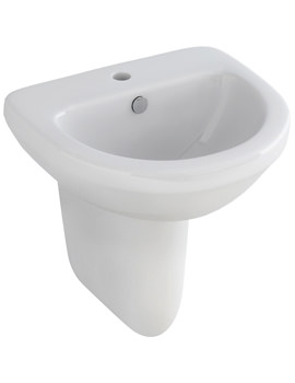 Pura Ivo Compact 1 Tap Hole 500mm Basin And Half Pedestal