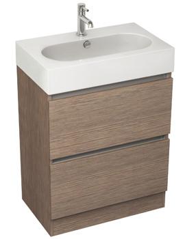 Pura Echo 600mm Floor Standing Double Drawer Soft Oak Unit And Basin