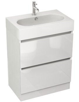 Pura Echo 600mm Floor Standing Double Drawer Unit And Basin