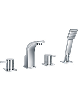 Flova Essence Deck Mounted 4 Hole Bath-Shower Mixer Tap With Handset