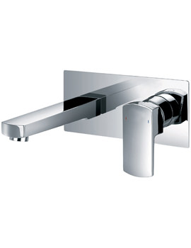Flova Dekka Wall Mounted 2 Hole Basin Mixer Tap With Clicker Waste