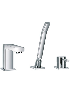 Flova Str8 Deck Mounted 3 Hole Bath/Shower Mixer Tap With Handset And Hose