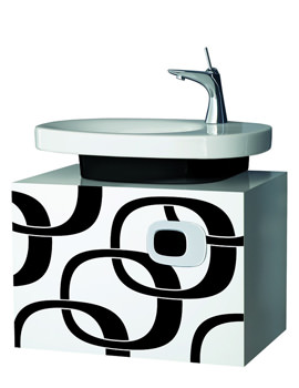 Laufen Mimo Wall Mounted Vanity Unit 650 x 450mm - White With Black Graphics