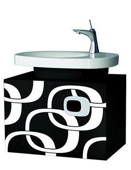 Laufen Mimo Wall hung Vanity Unit 650 x 450mm - Black With White Graphics