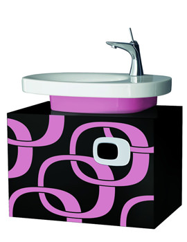 Laufen Mimo Wall Mounted Vanity Unit 650 x 450mm - Black With Pink Graphics