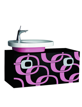 Laufen Mimo Left Hand Vanity Unit 1000mm - Black With Pink Graphics