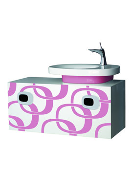 Laufen Mimo Right Hand Vanity Unit 1000mm - White With Pink Graphics