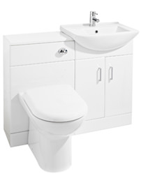 Ultra Madison High Gloss White Furniture Pack With Minimalist Basin