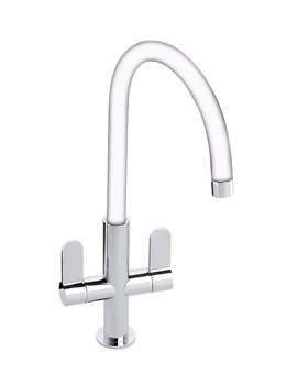 Abode Linear Chrome And White Monobloc Kitchen Tap