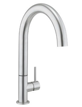 Crosswater Cucina Tube Round Side Lever Stainless Steel Kitchen Mixer Tap