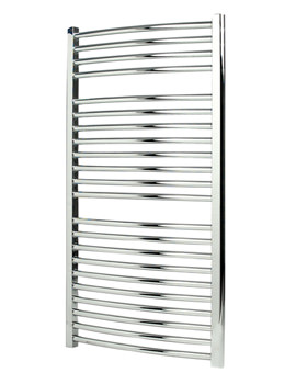 Apollo Napoli 600mm Wide Curved Sealed White Electric Towel Rail