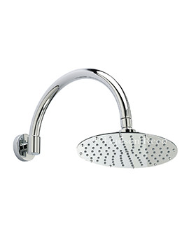 Hudson Reed Round Fixed Shower Head And Curved Shower Arm