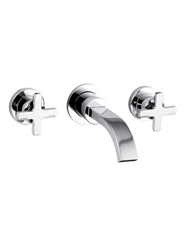 Abode Serenitie Wall Mounted 3 Tap Hole Bath Mixer Tap Chrome