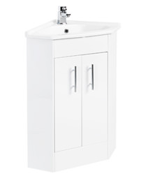 Beo High Gloss White 555 x 800mm Corner Vanity Unit Including Basin
