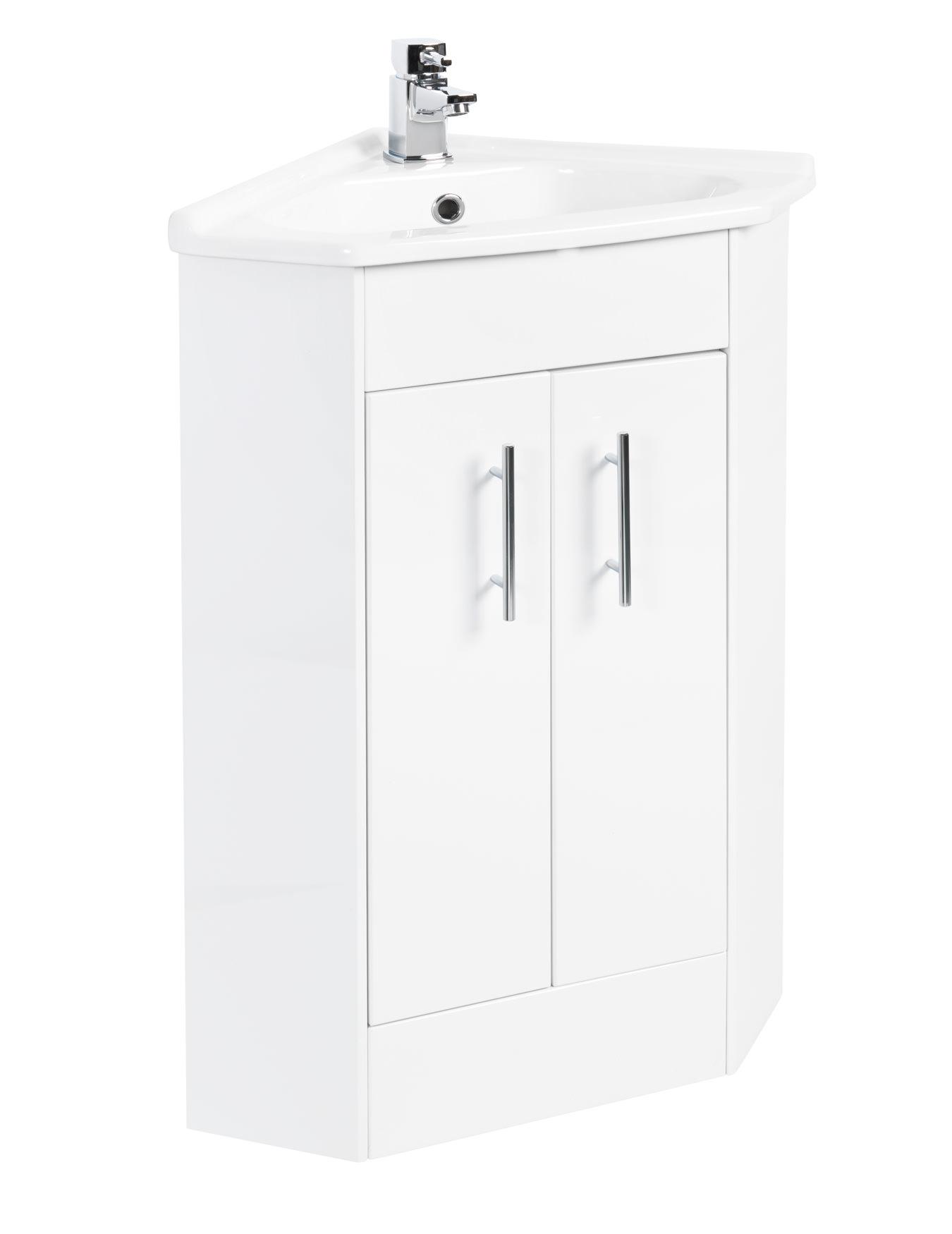 Beo High Gloss White 555 X 800mm Corner Vanity Unit And Basin