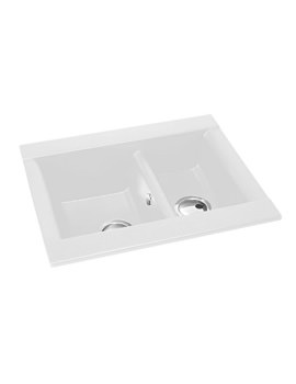 Abode Aspekt 1.5 Bowl White Granite Reversible Inset Kitchen Sink