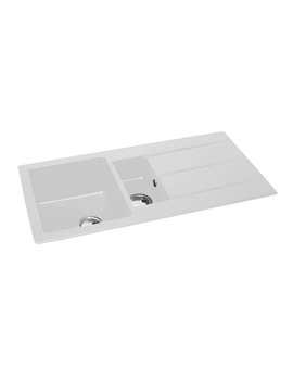 Abode Zero 1.5 Bowl And Drainer White Granite Reversible Inset Kitchen Sink