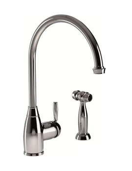 Abode Brompton Single Lever Kitchen Tap With Handspray - Pewter