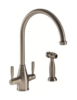 Abode Brompton Dual Lever Mixer Tap With Integrated Handspray Pewter