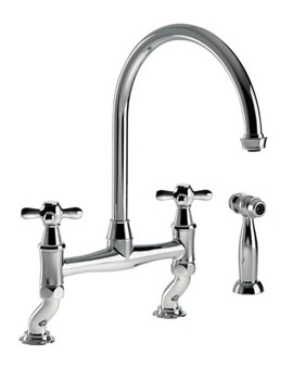 Abode Langley Dual Lever Bridge Kitchen Mixer Tap With Handspray Chrome