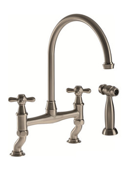 Abode Langley Dual Lever Bridge Kitchen Mixer Tap With Handspray Pewter