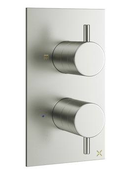 Crosswater Mike Pro Thermostatic Brushed Stainless Steel Double Outlet Valve