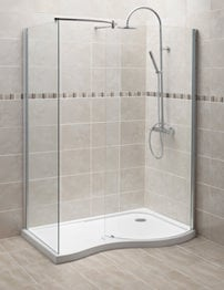 Beo 1400 x 906mm Curved Walk-In Shower Enclosure With Tray