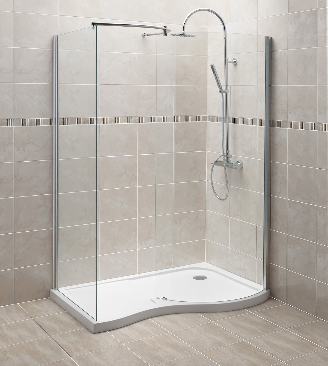 Beo 1400 X 906mm Curved Walk In Shower Enclosure With Tray