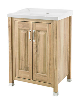 Old London Natural Walnut 600mm Unit With 1 Tap Hole Inset Basin