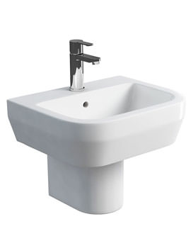 Britton Curve S30 50cm Washbasin And Round Semi Pedestal