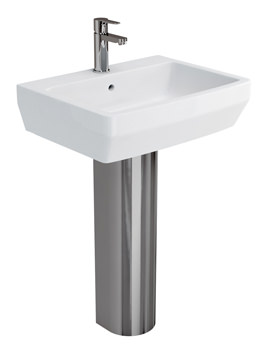 Britton Cube S20 White 600mm Basin With Stainless Steel Pedestal