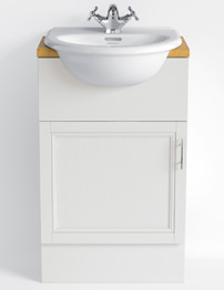 Heritage Caversham White Ash Finish 500mm Single Door Vanity Unit