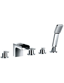 Flova Cascade Deck Mounted 5 Hole Bath-Shower Mixer Tap With Handset Kit