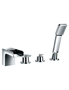 Flova Cascade Deck Mounted 4 Hole Bath-Shower Mixer Tap With Handset Kit