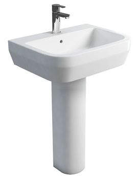 Britton Curve S30 Wash Basin 60cm And Tall Pedestal