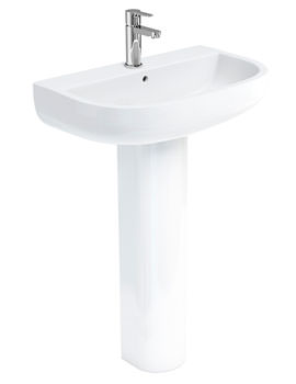 Britton Compact 650mm Wash Basin With Tall Pedestal