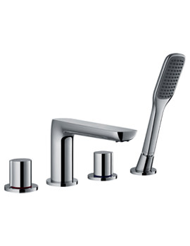 Flova Allore 4-Hole Deck Mounted Bath Shower Mixer Tap With Handset And Hose