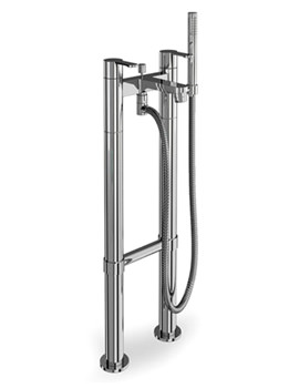 Britton Crystal Floor Standing Bath Shower Mixer Tap Chrome