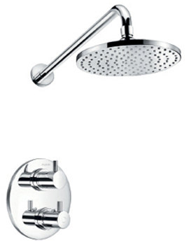 Flova Levo Thermostatic Shower Mixer Valve With Head And Wall Arm