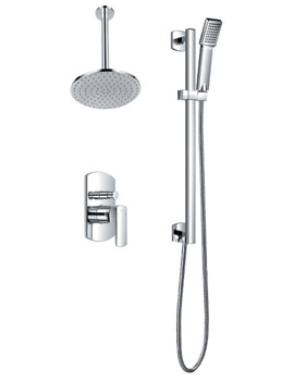 Flova Dekka Manual Valve With Diverter-Ceiling Shower And Slide Rail Set