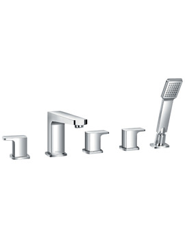 Flova Dekka Deck Mounted 5 Hole Bath-Shower Mixer Tap With Handset Kit