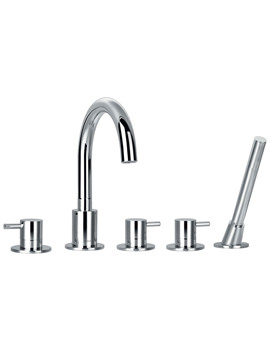 Flova Levo Deck Mounted 5 Hole Bath-Shower Mixer Tap With Handset Kit